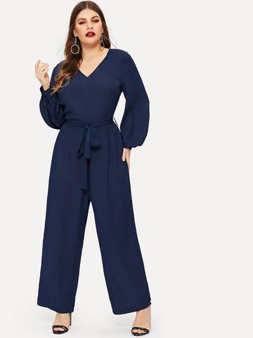 Plus Wide Leg Self Tie Jumpsuit | Amy's Cart Singapore