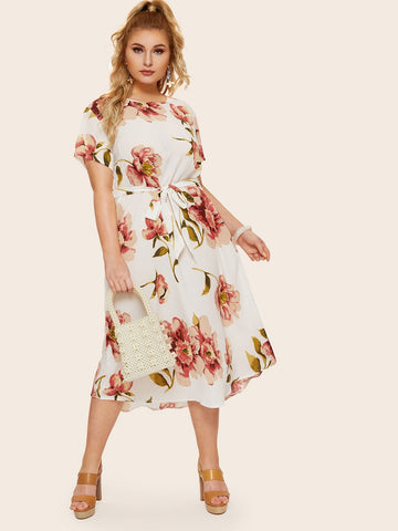 Plus Floral Print Self Tie Dress | Amy's Cart Singapore