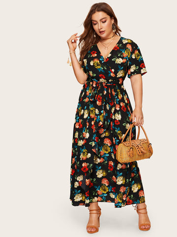 Plus Surplice Wrap Floral Dress With Belt | Amy's Cart Singapore