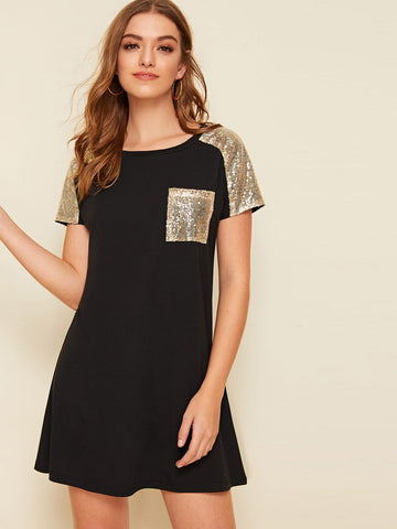 Raglan Sleeve Contrast Sequin T-shirt Dress | Amy's Cart Singapore