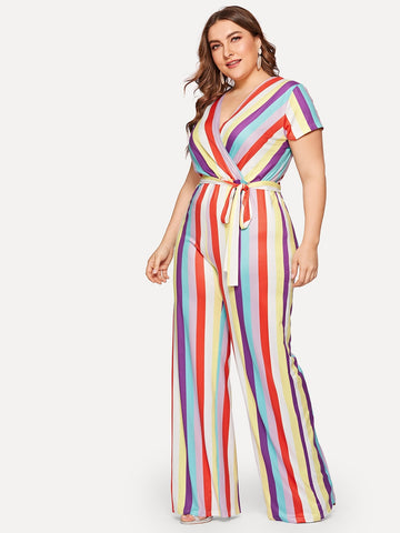 Plus Surplice Front Self Tie Striped Jumpsuit | Amy's Cart Singapore