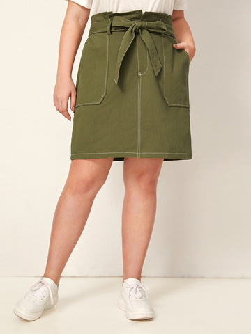 Plus Paperbag Waist Belted Denim Skirt | Amy's Cart Singapore