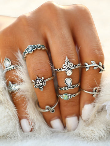 Starfish And Tortoise Design Ring Set 10pcs | Amy's Cart Singapore