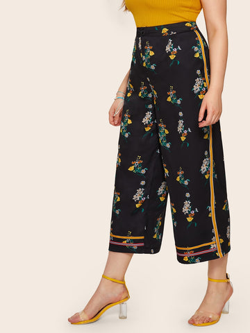 Plus Wide Leg Floral Print Pants | Amy's Cart Singapore