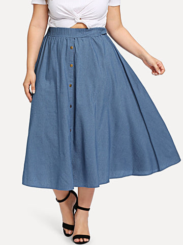 Plus Denim Button Detail Skirt | Amy's Cart Singapore