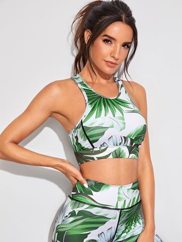 Plants Print Racer Back Sports Bra | Amy's Cart Singapore