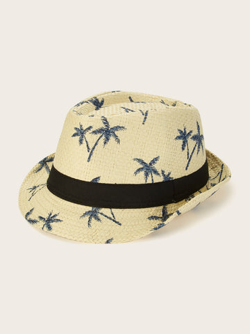 Men Coconut Tree Pattern Fedora | Amy's Cart Singapore