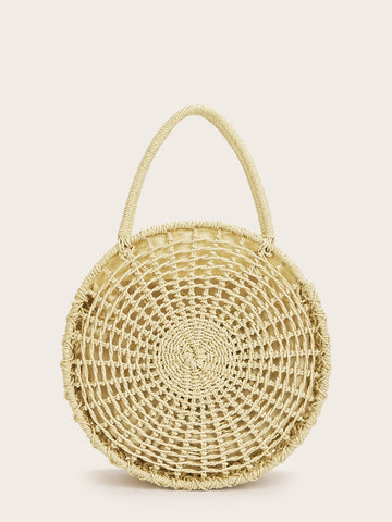 Zip Detail Round Woven Tote Bag | Amy's Cart Singapore