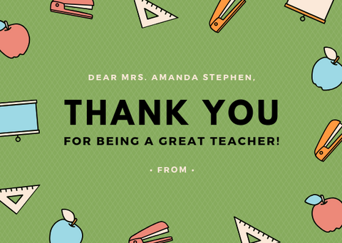 THANK YOU FOR BEING A GREAT TEACHER - GREETING CARD | Amy's Cart Singapore