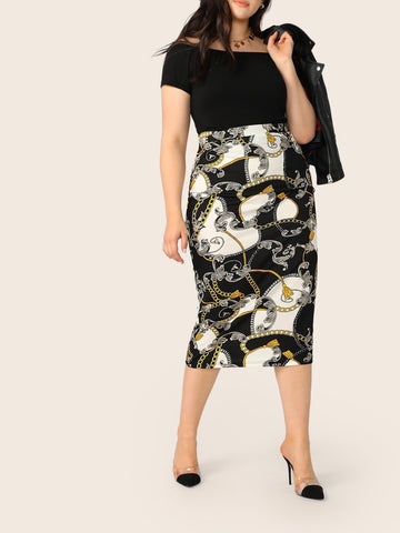 Plus Chain Print Pencil Skirt | Amy's Cart Singapore