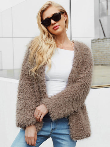 Solid Shearling Teddy Coat | Amy's Cart Singapore