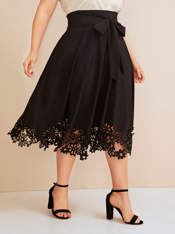 Plus Solid Laser Cut Belted Skirt | Amy's Cart Singapore
