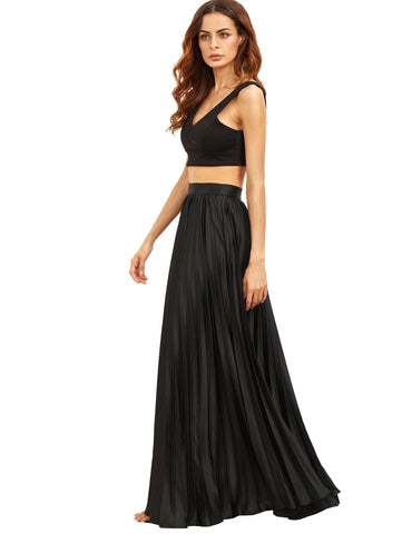 Pleated Flare Floor Length Skirt With Zipper Side | Amy's Cart Singapore