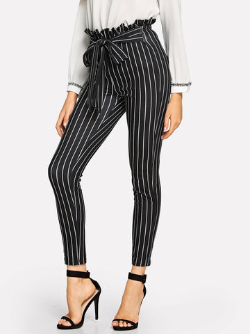Frill Trim Bow Tie Waist Striped Pants | Amy's Cart Singapore