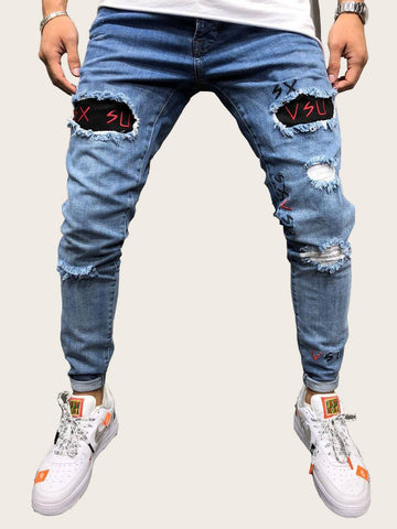 Men Letter Embroidery Ripped Jeans | Amy's Cart Singapore