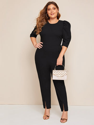 Plus Zipper Back Puff Sleeve Split Hem Jumpsuit | Amy's Cart Singapore