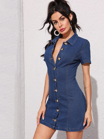 Topstitching Button Front Denim Shirt Dress | Amy's Cart Singapore