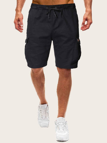 Men Drawstring Waist Dual Pocket Solid Shorts | Amy's Cart Singapore