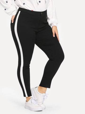 Plus Stripe Side Skinny Jeans | Amy's Cart Singapore