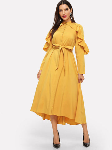 Ruffle Trim Dip Hem Belted Hijab Dress | Amy's Cart Singapore