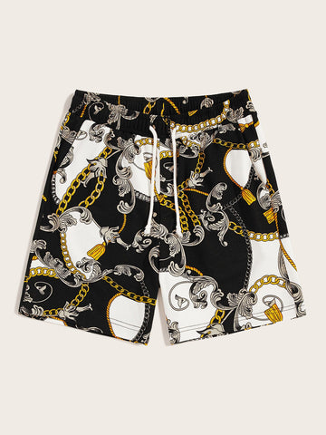 Men Scarf Print Slant Pocket Detail Sweat Shorts | Amy's Cart Singapore