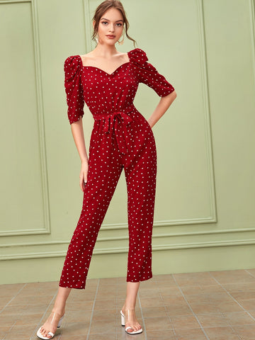 Confetti Heart Print Puff Sleeve Belted Jumpsuit | Amy's Cart Singapore