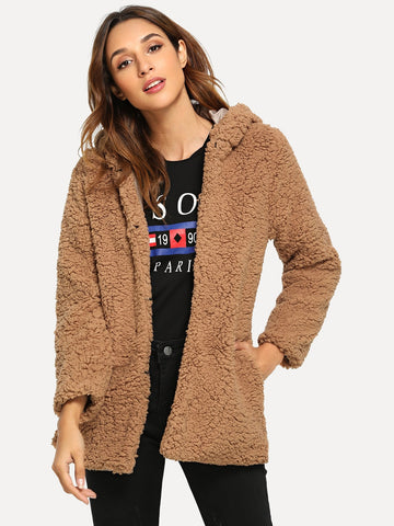 Open Front Hoodie Solid Teddy Outerwear | Amy's Cart Singapore