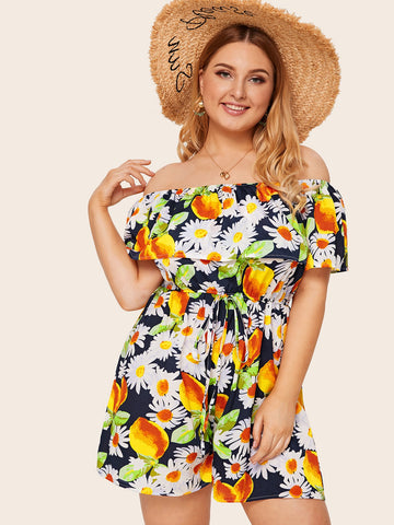 Plus Floral Print Flounce Knot Off The Shoulder Romper | Amy's Cart Singapore