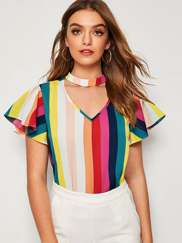 Choker Neck Flutter Sleeve Striped Top | Amy's Cart Singapore