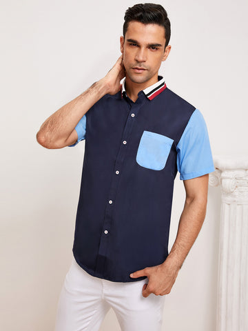 Men Contrast Panel Pocket Front Shirt | Amy's Cart Singapore
