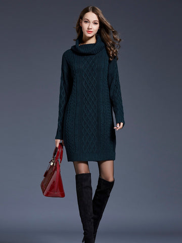 Solid High Neck Cable Knit Sweater Dress | Amy's Cart Singapore