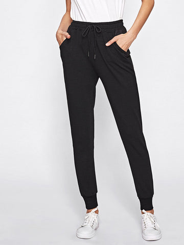 Drawstring Waist Pocket Side Sweatpants | Amy's Cart Singapore
