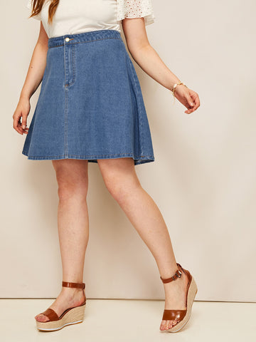 Plus Solid Denim Skirt | Amy's Cart Singapore