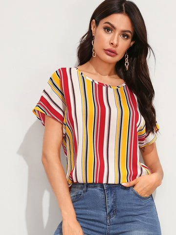 Batwing Sleeve Striped Top | Amy's Cart Singapore