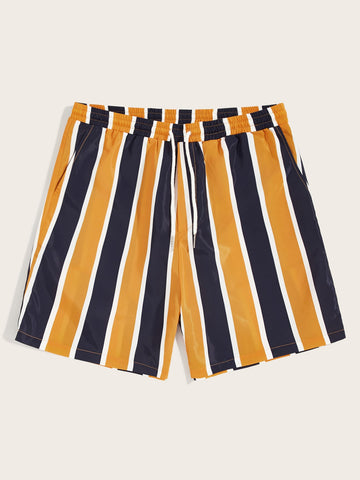Men Drawstring Waist Striped Wind Shorts | Amy's Cart Singapore