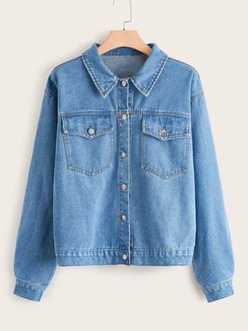 Plus Dual Pocket Front Denim Jacket | Amy's Cart Singapore