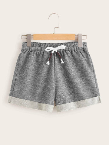 Cuffed Hem Heather Grey Track Shorts | Amy's Cart Singapore