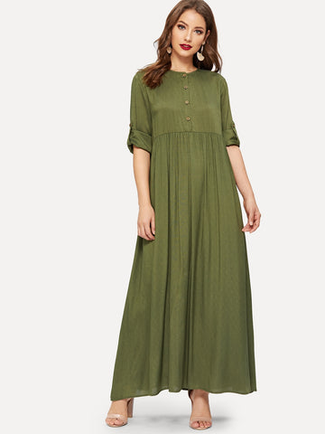 Buttoned Roll Up Sleeve Pleated Hijab Long Dress | Amy's Cart Singapore