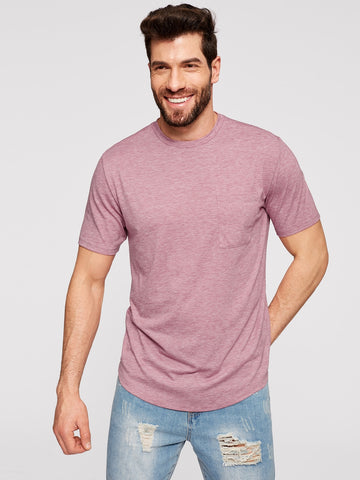 Men Pocket Patched Heathered Tee | Amy's Cart Singapore
