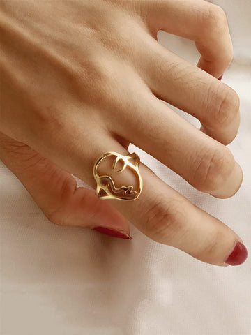 Hollow Face Decor Ring 1pc | Amy's Cart Singapore