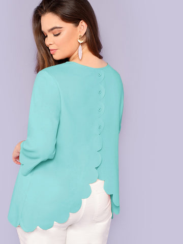 Plus Buttoned Back Scallop Edge Top | Amy's Cart Singapore