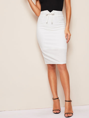 Notched Waist Bow Front Split Hem Pencil Skirt | Amy's Cart Singapore