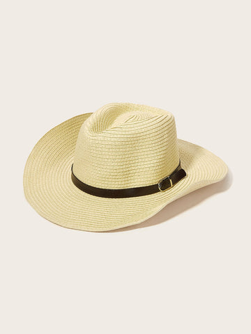 Men Belt Decor Cowboy Hat With Adjustable Chin Strap | Amy's Cart Singapore