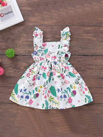 Baby Plants Print Buttoned Straps Dress | Amy's Cart Singapore