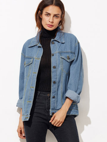 Button Front Pockets Boyfriend Denim Jacket | Amy's Cart Singapore