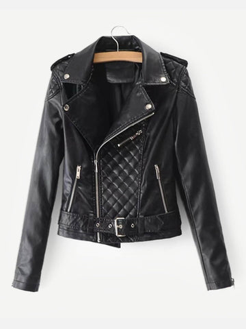 Faux Leather Belted Biker Jacket | Amy's Cart Singapore