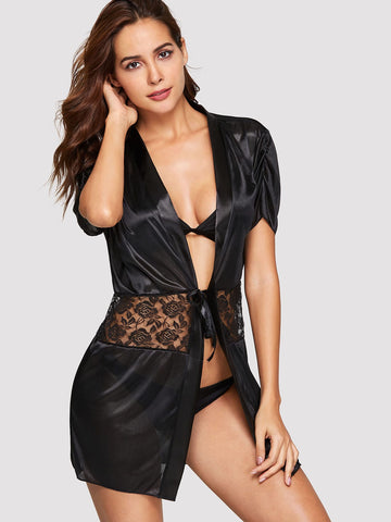 Contrast Lace Robe With Thong | Amy's Cart Singapore