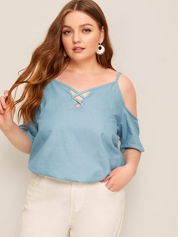Plus Cold Shoulder Denim Blouse | Amy's Cart Singapore