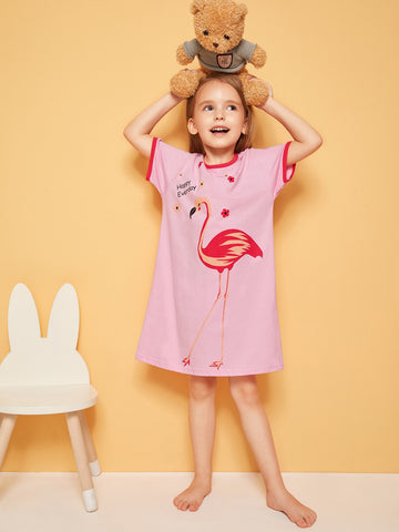 Toddler Girls Flamingo Print Night Dress | Amy's Cart Singapore