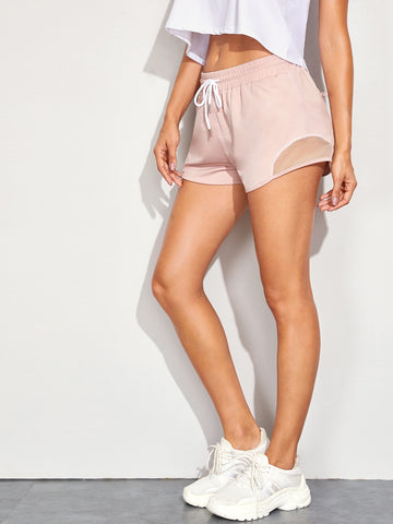Zip Back Mesh Detail Drawstring Waist Shorts | Amy's Cart Singapore
